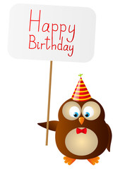 Cute Birthday owl with paper card