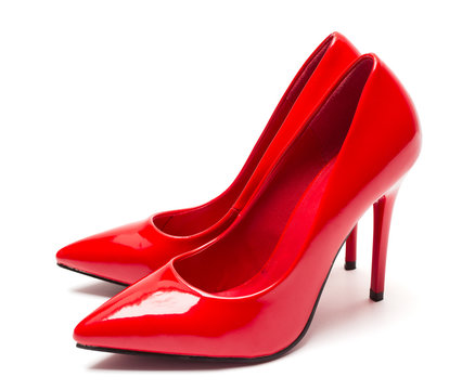 Pair of shiny red high heel shoes