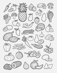 Set of fruits and vegetables icons sketch