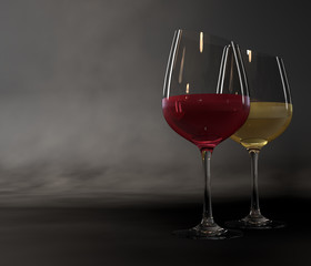 Two glasses of wine on a dark background.