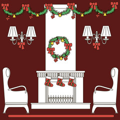 icons fireplace and armchairs with Christmas decorations