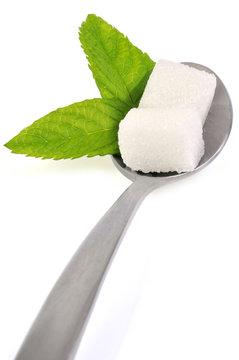 Feuilles de stévia et carrés de sucre