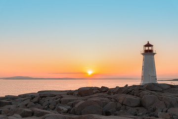 Peggys Cove's Lighthouse at Sunset Wall mural
