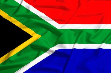 South Africa flag on a silk drape waving
