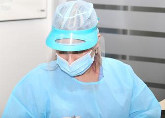Surgeon uniform. Focus in the hat.
