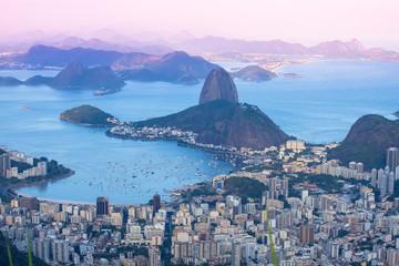 Sunset view of mountain Sugar Loaf and Botafogo. Rio de Janeiro