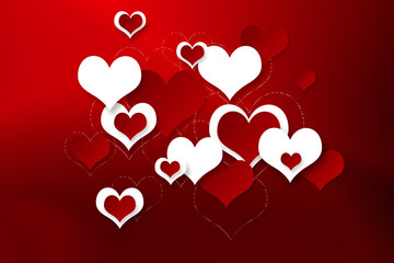 Bright festive background with hearts