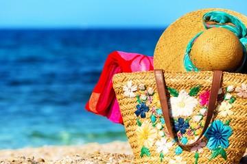 Beach necessities at the sunny beach.