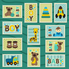 baby boy postage stamps - vector illustration, eps
