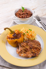 Steak with rice stuffed peppers
