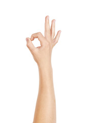 Right hand showing OK sign, isolated on white, clipping path
