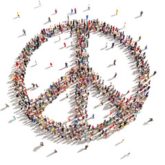 People of peace. Hundreds of people that support peace .