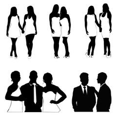 Best friends, people silhouette,vector