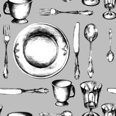 Dishes Set Seamless Pattern