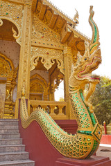 Naga Statue on the railing in Thai temple