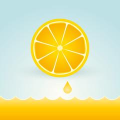 Fresh lemons with a drop of fruit juice
