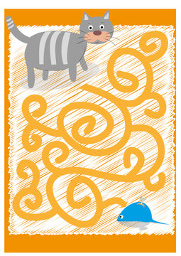 easy maze with cat and mouse - vector illustration
