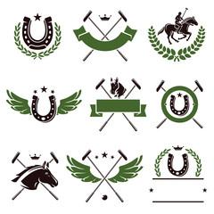 Horse and polo set. Vector