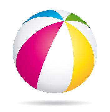 Colorful beach ball. Summer beach icon.