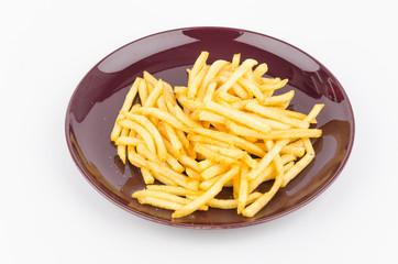 French fries dish isolated white background