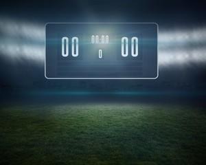Football pitch with black scoreboard