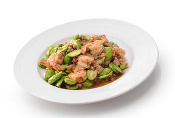 Fried Parkia wth shrimp and source