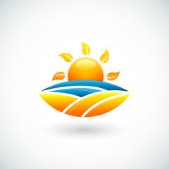 Illustration of sun, sea and beach