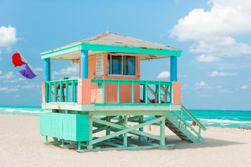 Wall Murals Caribbean Colorful lifeguard tower in Miami Beach
