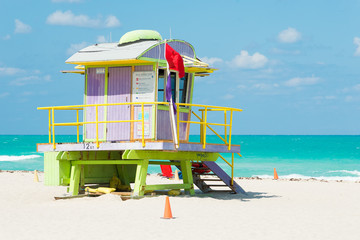 Wall Mural - Colorful lifeguard tower in Miami Beach