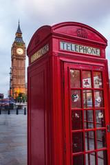 Fototapete - abends in London mit Telefonzelle und Big Ben