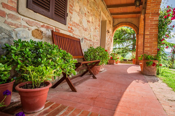 Beautiful porch in front of an home in Tuscany