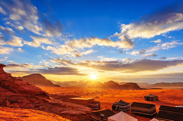 The Valley of the Moon in Wadi Rum, Jordan at sunset