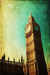Fototapete - nostalgisch texturiertes Bild vom Big Ben