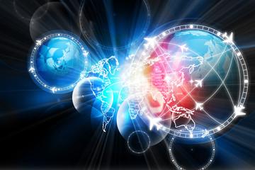 Digital illustration of  Global flight path network