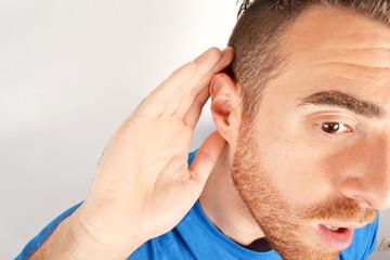 Man gesturing listening