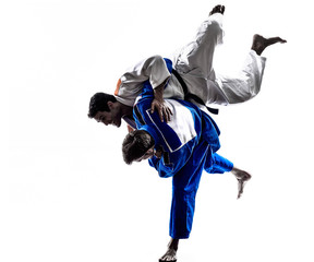 Photo sur Plexiglas Combat judokas fighters fighting men silhouette