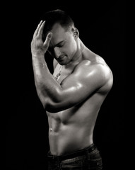 Fotobehang womenART man with beautiful biceps