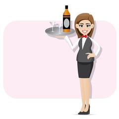 cartoon waitress serving alcohol with tray
