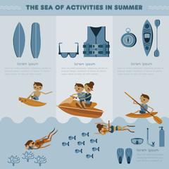 The sea of activities in summer vector set