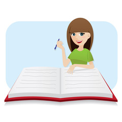 cartoon smart girl writing big diary