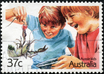 stamp from Australia illustrating Aussie Kids