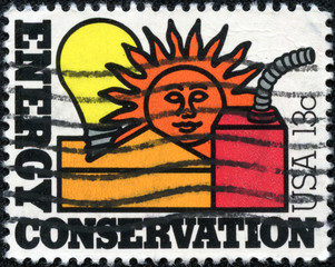 stamp printed in the USA shows Energy Conservation