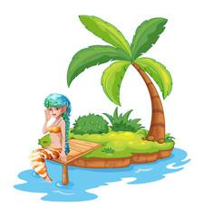 A pretty mermaid in the island