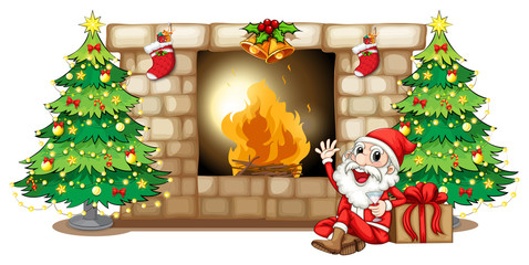 A happy Santa near the fireplace