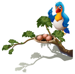 A parrot at the branch of a tree with a nest