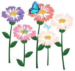 Flowers with butterflies