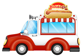 A vehicle selling hotdogs