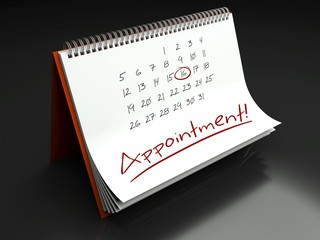 Appointment important day, calendar concept