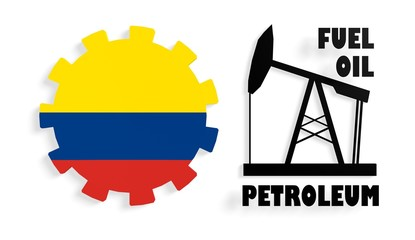 colombia flag on gear and 3d derrick model near