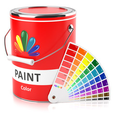 Can with paint and samples palette